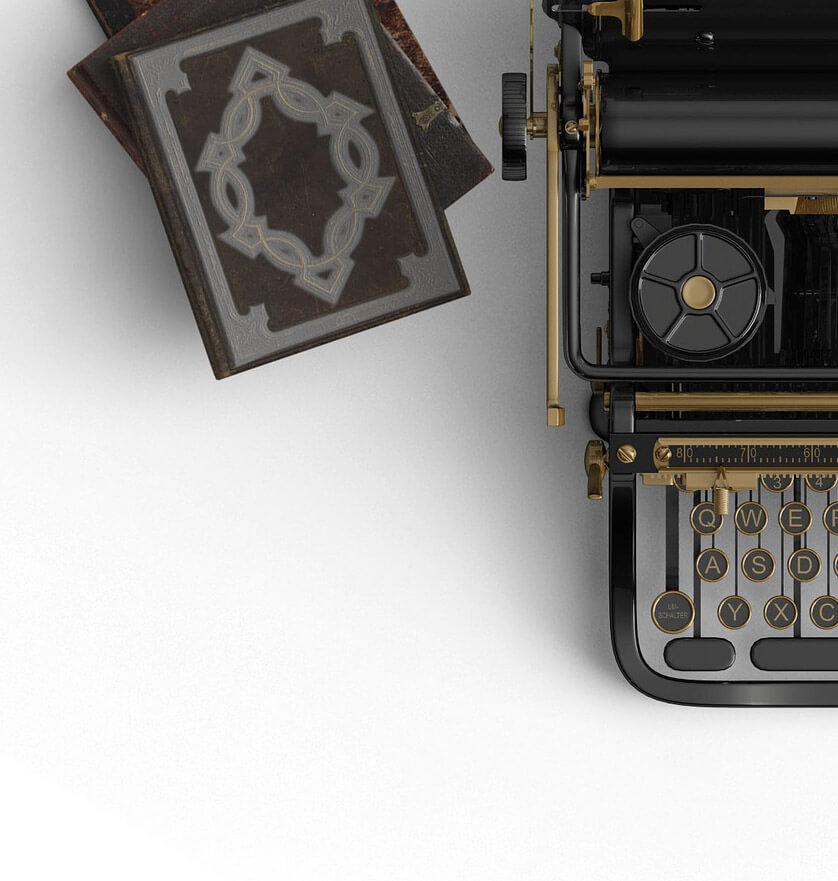 type writer and books