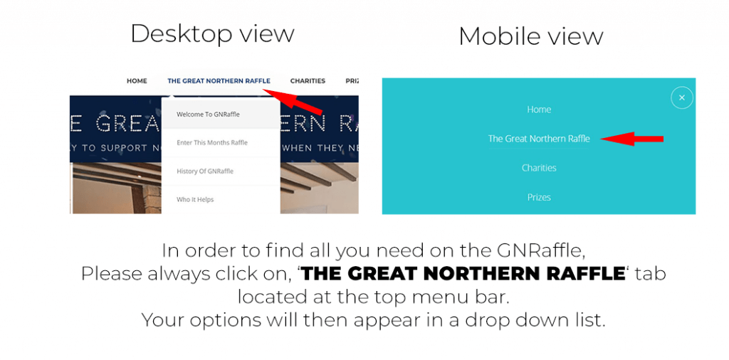 to navigate use GNRaffle drop down menu